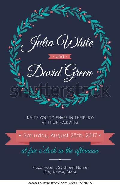 Vector Wedding Invitation Template Modern Design Stock Vector ...