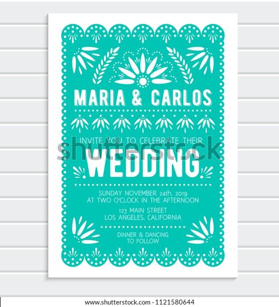 Vector Wedding Invitation Template Papel Picado Stock