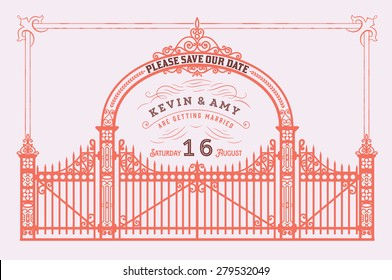 Vector. Wedding invitation vintage card with forged metal elements separated by layers