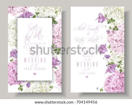 vector wedding invitations hydrangea bell flowers stock vector