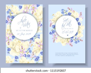 Vector wedding invitations with light yellow hibiscus and forget me not flowers on light blue. Can be used as floral design for cosmetics, spa, perfume, healthcare products, florist, summer background