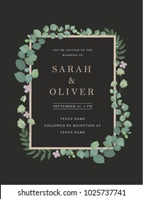 Vector wedding invitations set with floral decoration with eucalyptus on dark background. A modern design for invitations, save the date and thank you cards. With place for text