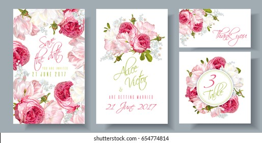 Vector wedding invitations set with garden roses and tulip flowers on white background. Can be used as floral design for natural cosmetics, perfume, health care products and greeting cards
