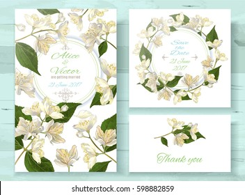 Vector wedding invitations set with jasmine flowers on white background. Romantic tender floral design for wedding invitation, save the date and thank you cards. With place for text