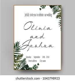 Vector wedding invite invitation save the date floral card design. Green fern, forest leaves herbs, greenery plant mix