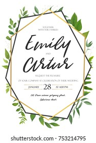 Vector wedding invite invitation save the date floral card design. Green fern, forest leaves herbs, greenery plant mix. Natural botanical Greeting  editable template. Geometrical golden Frame, border