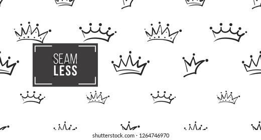 Vector wedding, king, prince, regal crowns seamless pattern background. Black outline hand drawn crown illustrations. Simple fashionable backdrop for invitation and wedding decoration design.