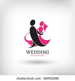 Vector wedding logo design template, marriage couple ceremony symbol