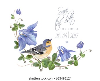 Vector wedding save the date card with elegant blue flowers and bird on white background. Can be used as floral packaging design for natural cosmetics, sweets, chocolate, health care products
