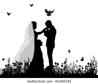 vector wedding  silhouette groom and bride in nature