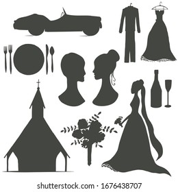 vector wedding silhouette set with hand drawn elements: dress, car, church, flowers, spoon, plate, bride and other