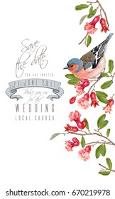 Vector wedding vertical border with bird on a pomegranate branch isolated on white background. Romantic design for wedding save the date invitation card. Can be used for poster, brochure, scrapbook
