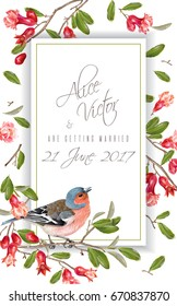 Vector wedding vertical frame with finch bird on a pomegranate branch isolated on white background. Romantic design for wedding invitation card. Can be used for poster, brochure, scrapbook