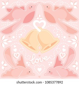 Vector weddingbells surrounded by pink birds, hearts and decorative elements
