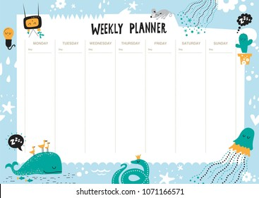 Vector weekly planner with animals in cartoon style and cute elements. Schedule design template.