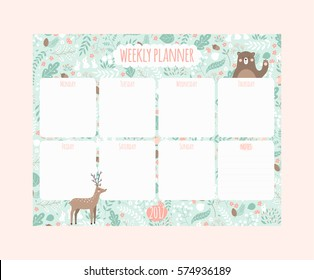 Vector weekly planner with cute animals
