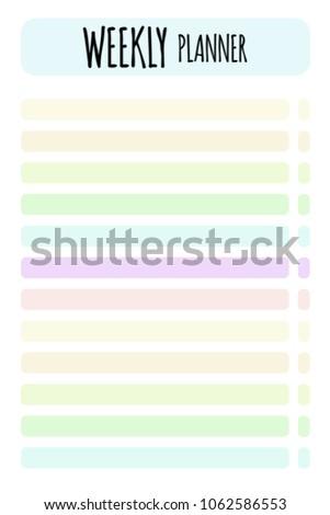 vector weekly planner organizer schedule format のベクター画像素材