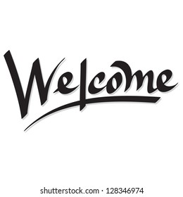 Vector of 'welcome' hand lettering