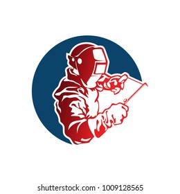 Vector of welder and welding work on white background