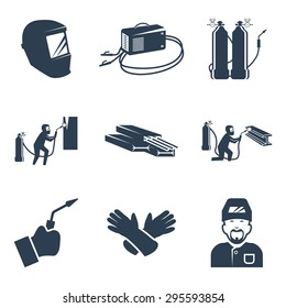 Vector welding related icon set