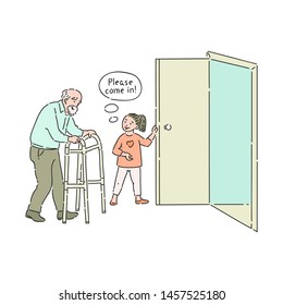 Vector well-behaved girl opening door to elderly man saying please come in. Good manners, politeness of female kid. Decenity and urbanity of children concept.