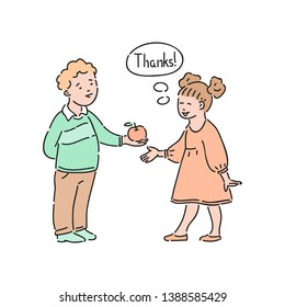 Vector well-behaved girl says thank you to boy offering apple to her. Good manners, politeness of female kid. Decenity and urbanity of children concept.