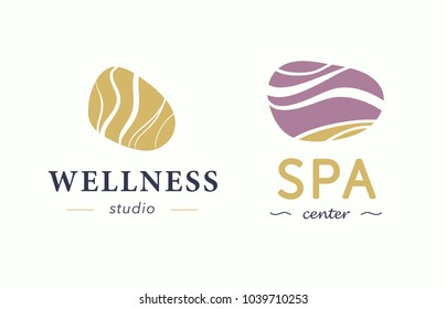 Vector wellness and spa center logo with abstract stylized stone isolated on white background. Also good for beauty and yoga studio, massage salon, health care centers, fashion insignia design.
