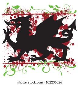 Vector Welsh Dragon Design (Heraldic Symbol)