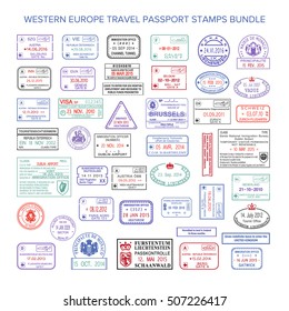 Vector western europe colour travel visa stamps set