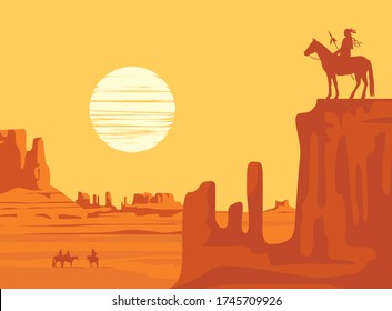 Vector Western landscape with American prairies and a silhouette of an Indian riding a horse with spear on top of a cliff at the yellow sunset. Wild West vintage background, decorative illustration
