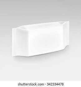 Vector Wet Wipes Napkins Blank White Packaging Package Pack Isolated on Background