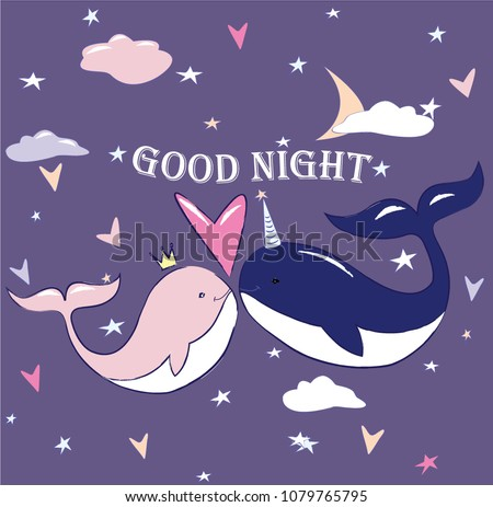 Vector Whale Couple Love Good Night Stock Vector Royalty Free