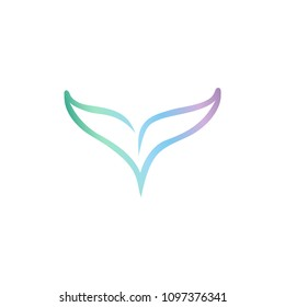 Vector whale tail silhouette logo. Blue whale gradient logotype. Mermaid tail, fish tail