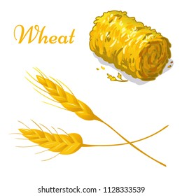 Vector wheat icon. Isolated elements on white background. Perfect for game icon or other design works.