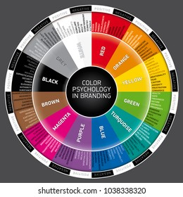 Vector wheel of color psychology in branding