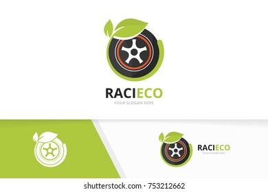 Vector wheel and leaf logo combination. Tire and eco symbol or icon. Unique tyre and organic logotype design template.