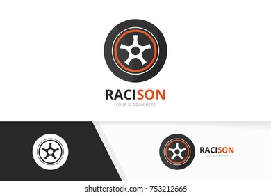 Vector wheel logo combination. Tire and car symbol or icon. Unique tyre and service logotype design template.
