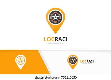 Vector wheel and map pointer logo combination. Tire and gps locator symbol or icon. Unique tyre and pin logotype design template.