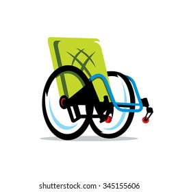 Vector Wheelchair Handicap Cartoon Illustration. Wheelchair closeup. Wheelchair medical icon. Wheelchair vector illustration. Wheelchair isolated on white background. Disabled Carriage