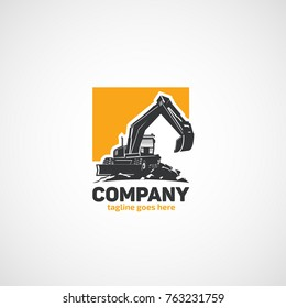 Vector wheeled excavator logo
