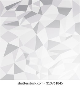 Vector white abstract low poly background. Triangles background. Polygonal texture
