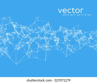 Vector white abstract particles on blue background