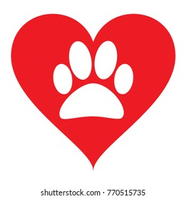 Vector of a white animal pawprint in a red heart on white background to be uses as a logo or illustration