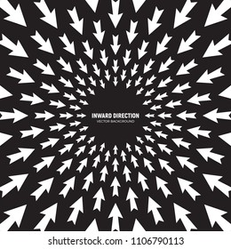 Vector White Arrows in Radial Composition Diverging in Inward Direction on Black Background Abstract Conceptual Illustration