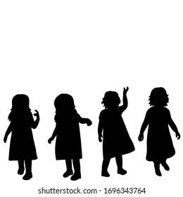 vector, white background, black silhouette little girl set