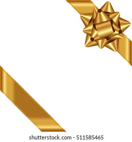 Vector white background with gold bow