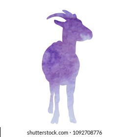 vector, white background, isolated, watercolor silhouette of a goat