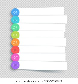 Vector White Banner Steps Infographic List 1 to 8