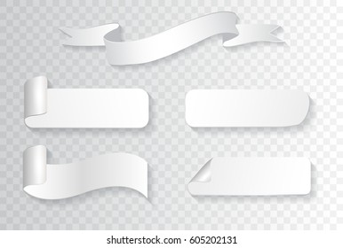 Vector white banners.Set of ribbon banners.
