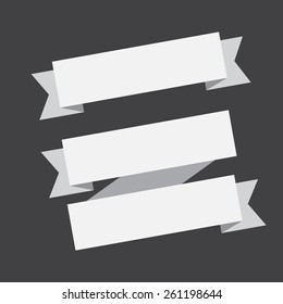 vector white banners ribbons on a black background.